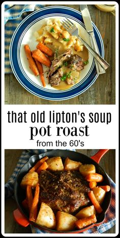 That Old Lipton Onion Soup Pot Roast Recipe - Good Eats - That Old Lipton Onion Soup Pot Roast Recipe is still a classic. Done up with potatoes and carrots in the oven or slow cooker it tastes like home. Chuck Roast Recipes, Pot Roast Recipes, Onion Recipes, Game Recipes, Meat Recipes, Grilling Recipes, Cooker Recipes, Chicken Recipes, Dining