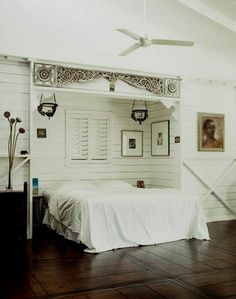 recessed bed nook, stable look Indoor Shutters, Red Shutters, Pretty Bedroom, Bedroom Black, Bedroom Colors, Bedroom Decor, Tongue And Groove Walls, Leadlight Windows, Shutter Decor