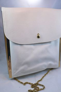 Vintage White Leather Letisse Handbag Gold Chain Shoulder Strap White & Gold Womens Messenger Style Purse Birthday Gift for Her White Leather, White Gold, Gold Handbags, Vintage Purses, Birthday Gifts For Her, Vintage Accessories, Gold Chains, Saddle Bags, Purses And Bags
