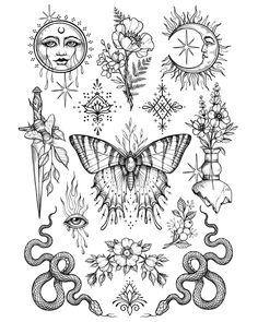 10 tattoos for guys . Flash Art Tattoos, Dope Tattoos, Tattoo Flash Sheet, Body Art Tattoos, Hand Tattoos, Sleeve Tattoos, Tattos, Hippie Tattoos, Stomach Tattoos