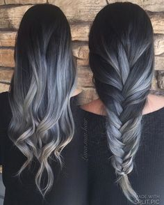The Last Balayage Hair Color You'll Love – Latest Hairstyles Balayage coloring is becoming more popular, it looks more natural than before! Ombre balayage is the latest hair dye trend – it is more. Gray Hair Color Ombre, Hair Color Balayage, Ombre Style, Ash Gray Balayage, Gray Color, Blonde Balayage, Grey Hombre Hair, Dyed Gray Hair, Balayage Hair Dark Black