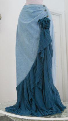 Cascade Bleue waterfall jean skirt teal silk cascading ruffle Renaissance Denim Couture turquoise blue bohemian sea goddess mermaid. $150.00, via Etsy.