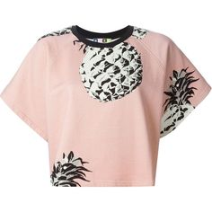 MSGM Pineapple Print Crop Top featuring polyvore, fashion, clothing, tops, shirts, crop tops, t-shirts, shirt crop top, cotton shirts, shirts & tops, pink shirt and msgm
