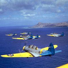 Squadron of American Douglas torpedo bombers from the aircraft carrier USS Enterprise CV-6 in flight near Diamond Head, Oahu - Hawaii, in 1941.