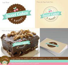 Logo design for SWEET CAKES AND BAKERY Sugar Free Sponge Cake Recipe, Sponge Cake Recipes, Bakery Names, Bakery Logo, Logo Panaderia, Logo Dulce, Ice Cram, Bakery Packaging, Baking Business