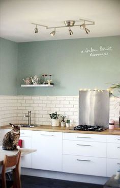 Kitchen:Kitchen Paint Colors Painted Kitchen Cabinet Ideas Grey Color For Kitchen Walls Most Popular Color To Paint Kitchen Cabinets Best Kitchen Wall Colors Color For Kitchen Walls Kitchen Wall Colors, Kitchen Paint, New Kitchen, Kitchen White, Mint Kitchen Walls, Loft Kitchen, Cheap Kitchen, White Kitchens, Modern Country Kitchens