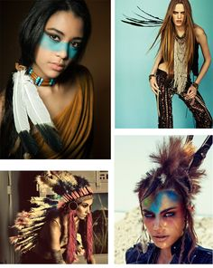 Traditional aspects of Native American dress with the incorporation of modern features.