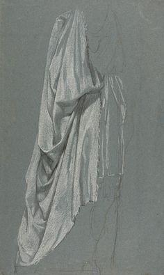 Musée Réattu - Arles - Revoir Réattu - Jacques Réattu, Etude de drapé, vers 1780-1790. Coll. musée Réattu. Leg Elisabeth Grange 1868. Pierre noire et rehauts de blanc sur papier gris-bleu - 39,5x29 cm