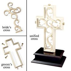 Unity Cross. Groom places the outer Cross on the wood base to symbolise how God created man- Bold, Strong, the Defender of the Family but empty and incomplete without the woman. Bride then places the delicate cross inside of the Grooms to show how God created Woman- Delicate, multi-faceted, taking care of all of the little things that complete the man, and the Two become One. 3 golden pegs lock the union together (Father, and Son, Holy Spirit) What God has brought together let no man take apart.