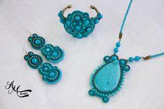 Soutache necklace Soutache bracelet Soutache earrings Soutache jewelry by AMDesign