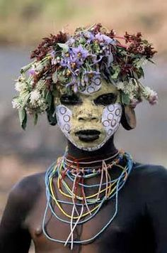 Photographs taken over the last five years by Hans Silvester, a German photographer, document the extraordinary body painting of the Surma and Mursi peoples of the Omo Valley in southern Ethiopia. Semi-nomadic warriors, they live primarily by keeping large herds of cattle; their only Western accessory seems to be the Kalashnikov rifles they trade with Sudanese tribes.