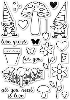 Memory Box Clear Stamps LOVE GROWS Open Studio CL5167