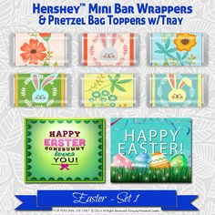 Easter Hershey Mini's Candy Bar Wrapper,Printable favor Bag Tag, Happy Easter, Some bunny loves you, for Mini bars not Nuggets by EmptyNesterCrafts on Etsy
