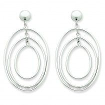 14K White Gold Oval Circle Dangle Post Earrings