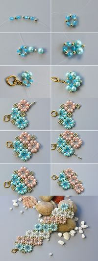 flower beaded bracelet, wanna it? The tutorial will be published by LC.Pandahall.com