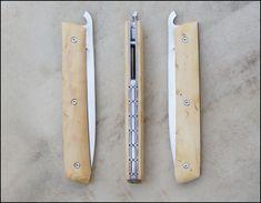 Couteau Reka liner lock lame inoxydable en niolox plaquettes en buis et platines titanes de fabrication artisanale par Cyril Kalisz guillochage