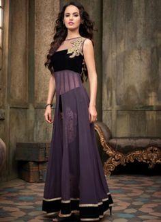 Wonderful Violet Georgette Latest Designer Party Wear Anarkali Salwar Suit