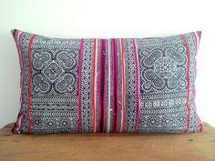"12""x20"" Beautiful Hmong Batik Pillow Cover, Indigo Cotton Cushion Cover, Tribal Throw Pillow Case, Hill Tribe Ethnic Pillow Case"