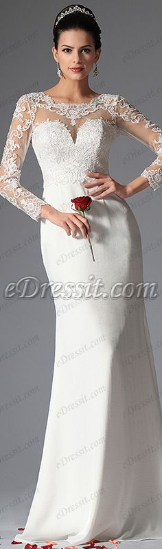 Long sleeves illusion sweetheart neckline! #edressit #wedding_dress #bridal_dress #fashion