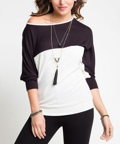Look at this Milan Kiss Black & White Color Block Boat Neck Tunic - Plus on #zulily today!