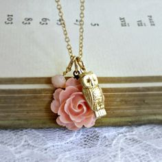 Gold Owl Necklace Peach Rose Necklace Charm Necklace Cottage Chic Woodland Bridesmaid Jewelry - The Owl and the Rose