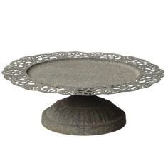 Greywash Pedestal Cake Stand with Metal Lace Trim