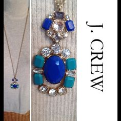 """J. Crew Necklace Bought from another Posher, but it's just not me. Long (15.5"""") gold tone chain which ends in a dual stoned statement. Lapis and turquoise colored solid faceted stones with clear sparkly stones as accents. Lobster clasp, J. Crew hang tag, accented by a tiny sparkly stone.  Ver pretty with a turtleneck or layered look! J. Crew Jewelry Necklaces"""