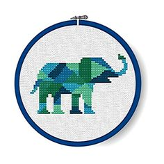 PATCHWORK ELEPHANT Modern Monochrome/Multicolor Geometric Cross Stitch Pattern - INSTANT Download