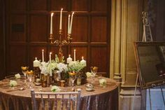 Gold Vases For Wedding Centrepieces – Used at Hampton Manor