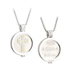 Irish Coin Pendant - Celtic Cross Coin Rhodium and Gold Plate Pendant. This rhodium plated necklace comes with a Celtic Cross coin and is interchangeable so that you can slot in another of these exquisitely designed coins to suit any occasion. Each coin is reversible and features an Irish symbol one side and sentiment or blessing on the other. Made by Solvar Jewelry, Dublin, Ireland. Comes on a 26 inch chain in a presentation box. Measures approx. 1.3 inch diameter.