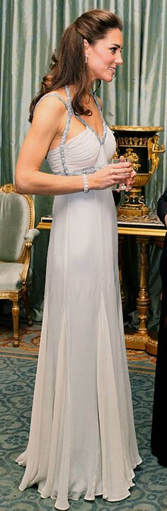 The Duchess of Cambridge stuns in beaded gown at her first solo engagement - a charity dinner for In Kind Direct at the Clarence House
