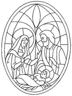 Glas In Lood Kleurplaat Kerst Kerst Pinterest Natale En Nativita
