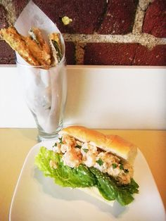 shrimp and crab salad roll with zucchini fries
