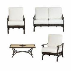 Hampton Bay Dining Furniture Pembrey 4-Piece Patio Conversation Set with Bare Cushion HD14207