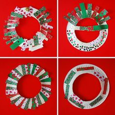 Paper plate wreaths with paper plates (duh) wrapping paper cut into strips · Christmas Crafts For ToddlersEasy ...  sc 1 st  Pinterest & Simple Advent Activity: Paper Plate Bow Wreaths - | Bow wreath ...