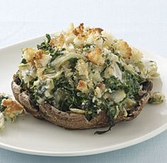 Portabello Mushrooms with Creamy Spinach-Artichoke Filling