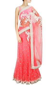 Pink threadwork and pearl embellished sari with satin blouse piece available only at Pernia's Pop-Up Shop.