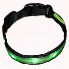 Size XL Nylon Safety Flashing Glow Light LED Pet Dog Collar