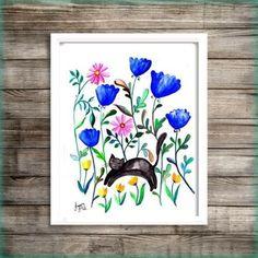 Black cat wild flower watercolor painting wall art by Sweepinggirl