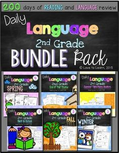 Looking for some new morning work? This unit contains all 6 of my Daily Language packs for second grade students for a total of 160 days of language and reading review as well as 40 days of summer take-home practice. Used throughout the school year, these sheets are designed to spiral in difficulty, beginning with a review of First Grade Language and Reading Common Core Standards in the Back to School pack and ending with a review of Second Grade Language and Reading Common Core Standards…