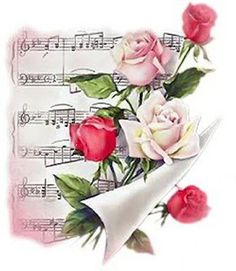 Back Porch Graphics: Music and Roses Image Freebies Decoupage Vintage, Decoupage Paper, Art Floral, Vintage Pictures, Vintage Images, Gif Rose, Printable Paper, Copics, Vintage Cards