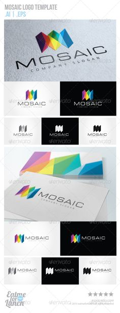 Mosaic Logo Template  #GraphicRiver         Clean logo template, suitable for any business related to creative studio, motion graphic, film, movie and video, graphic design, interior design, architectural, construction, or any other business related.   2 Optional Logos  5 Color
