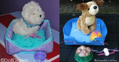 This is Char and I am having way too much fun with Karen's craft this week! When she sent me the instructions for how to make this cute DIY pet bed she mentioned that she doesn't have t… American Girl Doll Pets, American Girl Crafts, American Girl Clothes, Ag Doll Crafts, Diy Doll, Ag Dolls, Girl Dolls, American Girl Accessories, Doll Accessories
