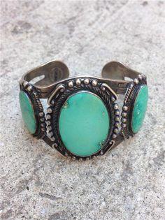 Vintage Fred Harvey Era Navajo Sterling Silver & Turquoise Cuff Bracelet