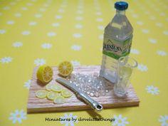 Dollhouse Miniature Iced Water Lemon Prep Board