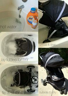 To deep clean a stroller or pack-and-play: 1/2 C laundry detergent, 1/4 C baking soda, 1/4 C vinegar in a tub of full of hot water...""
