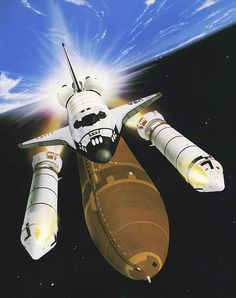 SPACE ART: Solid Rocket Booster Separation