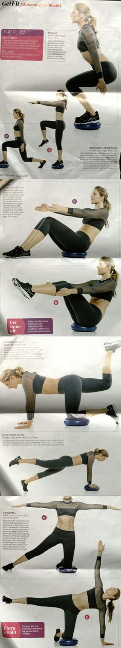 Workout of the month, balance disc, April 2014 Shape