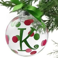 A monogrammed ornament is a wonderful party favor or hostess gift! And even better in pink and green! Bubble Christmas, Christmas Gifts To Make, Christmas Balls, Christmas Art, Winter Christmas, Christmas Tree Decorations, Christmas Tree Ornaments, Christmas Ideas, Xmas