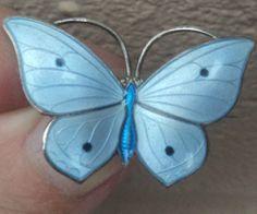 Norwegian Silver Blue Enamel Butterfly Brooch 1920s Marius Hammer Norway | eBay